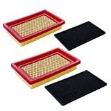 HOODELL 2 Pack 951-10298 Air Filter + Pre Cleaner for MTD Cub Cadet SC100 951-14632, Kohler 14 083 01-S, 5-5/8 × 3-1/2 inch Push Lawn Mower Air Filter