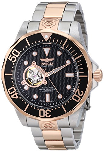 Invicta Men's 13708 Grand Diver Automatic Black Textured Dial Two-Tone Stainless Steel Watch