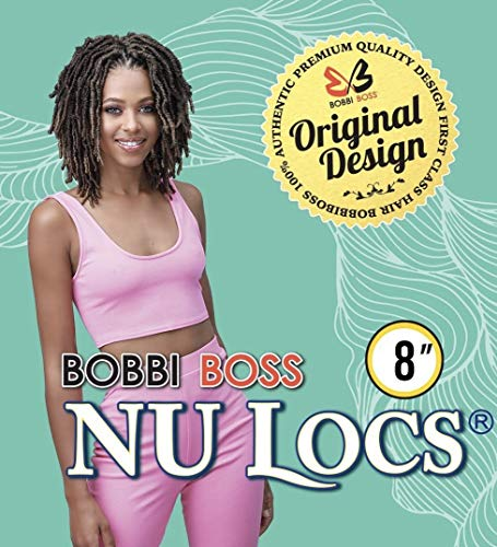 (6 packs) Bobbi Boss Synthetic Hair Crochet Braids African Roots Braid Collection Nu Locs 8' Good for someone who likes Short Style, Men and Kids (1B)