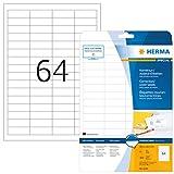 HERMA Etichette per Marcatura, 48,3 x 16,9 mm, Etichette Adesive A4 per Stampante, 64 Etic...