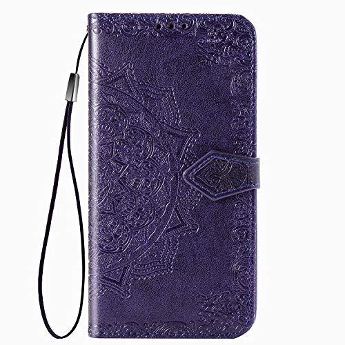 Fertuo Hülle für Oppo Reno2 Z, Handyhülle Leder Flip Hülle Tasche mit Kartenfach, Magnet & Standfunktion [Mandala] Schutzhülle Ledertasche für Oppo Reno2 Z, Lila