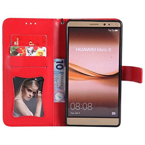 pinlu® PU Leder Tasche Handyhülle Für Huawei Ascend Mate 8 (6zoll) Smartphone Wallet Hülle Mit Standfunktion und Kartenfach Design Rattan Blume Prägung Rot - 3