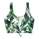 ZAFUL Women's Scoop Neck Tropical Leaf Knotted Two Pieces Tankini Set Swimsuit (Z-Top-Green Peas, M)
