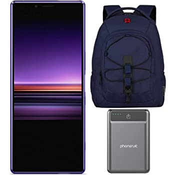 """Sony Xperia 1 Unlocked Smartphone 6.5"""" 4K HDR OLED CinemaWide Display, 128GB - Purple - (US Warranty) with 16-inch Laptop Backpack and Battery Pack Bundle (3 Items)"""