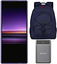 "Sony Xperia 1 Unlocked Smartphone 6.5"" 4K HDR OLED CinemaWide Display, 128GB - Purple - (US Warranty) with 16-inch Laptop Backpack and Battery Pack Bundle (3 Items)"
