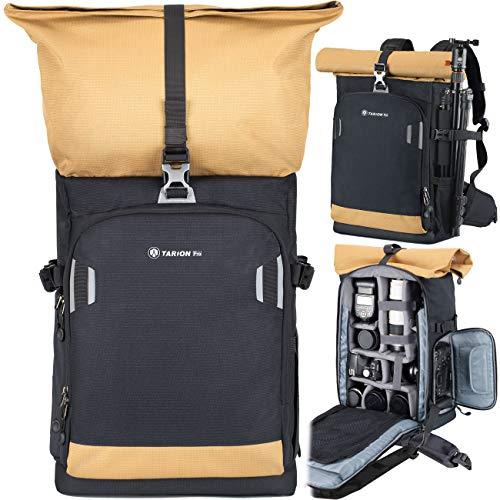 TARION Pro Kamerarucksack Fotorucksack mit Kamera-Schnellzugriff für Canon Nikon Sony Kameras DSLR Rucksack mit 15 Zoll Laptopfach und Regenhülle | 19 Liter Schwarz Gold