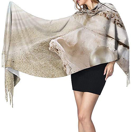 Elaine-Shop Ocean Beach Muschel Perlmuster Kaschmirschal Womens Casual Warm Scarf Wrap Schal Large