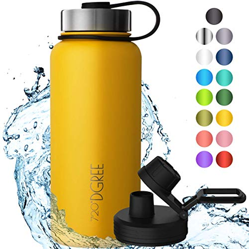 720°DGREE Edelstahl Trinkflasche noLimit 1200 ml, 1,2l - Neuartige Thermosflasche +Gratis Sportdeckel - Auslaufsichere Isolierflasche - Perfekte Outdoor Sportflasche für Kinder