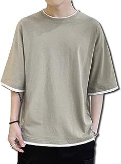 [Bolso] 重ね着風 ゆったり シルエット 5分袖 Tシャツ メンズ (ブラック、ホワイト、グレー、グリーン) M ~ XXL