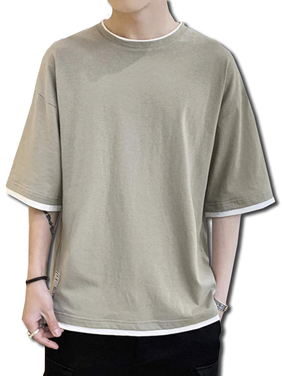 そうつなぐカイウス[Bolso] 重ね着風 ゆったり シルエット 5分袖 Tシャツ メンズ (ブラック、ホワイト、グレー、グリーン) M ~ XXL