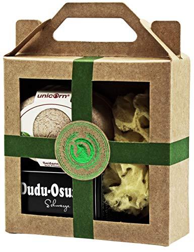 Unicorn® Coffret cadeau mini boîte à savon Dudu Osun® Classic et éponge naturelle Vert