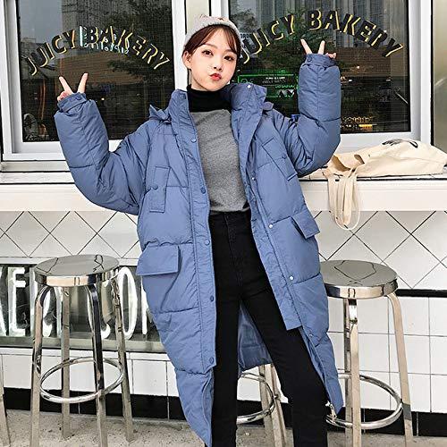 EIJFKNC Daunenjacke Mäntel Winterjacke DamenMittellange, knielange Damen-Wolljacke in Übergröße, blau, XL