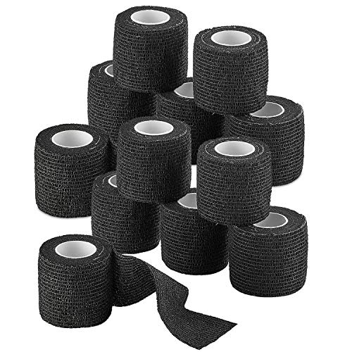 Self-Adherent Cohesive Bandage - 12 Pack Bulk | Black Self-Adhering Medical Wrap | 2