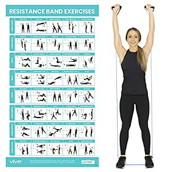 Vive Resistance Band Workout Poster - Laminated Bodyweight Hitt Exercise Chart For Abs Glute Back Legs - Stretch Routine For Home Gym Garage - 40 Educational Cable Muscle Trainings For Men Women