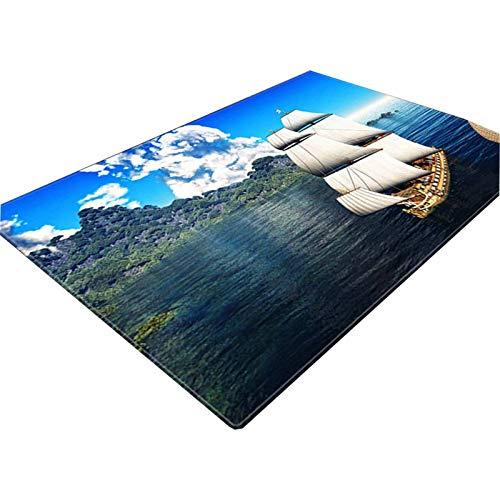 NgMik 3D Vision Teppich 3D Ozean Printing weicher Unterseite Teppich Wohnzimmer Couchtisch Absorbent Teppich Schneiden Anti-Rutsch-Schlafzimmer Schlafmatten Rutschfester Teppich