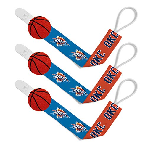 Baby Fanatic NBA Oklahoma City Thunder Unisex OKC313Pacifier Clip (3 Pack) - Oklahoma City Thunder, See Description, See Description