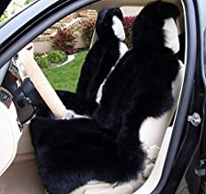 OKAYDA Fur Car Seat Cover Genuine Australia Lambskin Luxury Long Wool Front Seat Cover Universal Size Fits Most Cars, Trucks, SUV or Vans ( Black 1 Piece )
