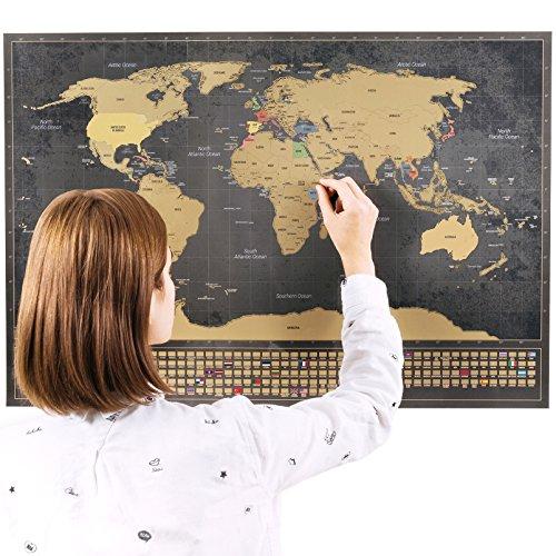 Rubbel Weltkarte (Englisch) XXL +A4 Rubbelkarte von der UK (Schwarz, 84 x 58 cm)