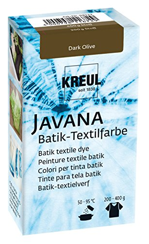 Kreul 98533 - Javana Batik Textilfarbe, zum Färben von Textilien mit der Shibori Technik, 70 g Farbpulver in Dark Olive