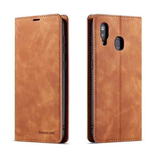 QLTYPRI Hülle für Samsung Galaxy A40, Premium Dünne Ledertasche Handyhülle mit Kartenfach Ständer Flip Schutzhülle Kompatibel mit Samsung Galaxy A40 - Braun