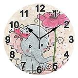 FULUHUAPIN Reloj de pared de elefante con diseño de mariposas y flores para baño, para niña, no hace tictac, silencioso, fácil de leer, para decoración de dormitorio, 22,5 cm, reloj redondo 20301236