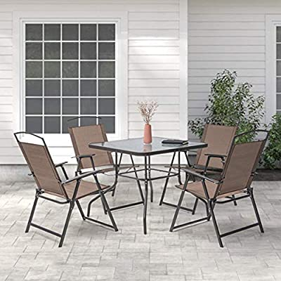 Crestlive Products 5 Piece Patio Dining Set with 4 Folding Chairs and Table Outdoor Dining Furniture with Square Glass Tabletop, Umbrella Hole for Bistro, Garden, Backyard, Deck (Brown)