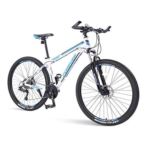 SOHOH Bicicletas De Montaña para Adultos, Bicicleta De Montaña Rígida De 33 Velocidades con Cuadro De Aluminio con Doble Freno De Disco Y Suspensión Delantera para Hombres Y Mujeres, Azul,29in