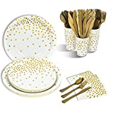 350PCS White and Gold Party Supplies Disposable Paper Plates Gold Dots Dinnerware Set White Paper Dessert Plates Cups Napkins Plastic Forks Knives Spoons for Wedding Birthday Baby Shower Graduation