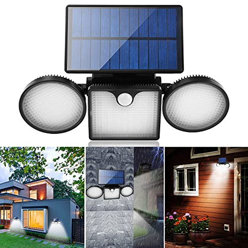 LEDソーラーライト屋外、260 LEDモーションセンサーライト、IP65防水LEDセンサーライト 屋外 ソーラー 高輝度ソーラーライト 屋外 人感センサー 屋外照明 防犯ライト 3面発光 人感センサー自動点灯 ガーデンライト 壁掛け/庭先/表玄関/駐車場