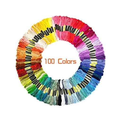 rongweiwang 100 Colores de Punto de Cruz Manualidades Hilo de Color del Bordado Cuerda Hilos Cruz Kit de Color del Arco Iris de algodón Bordado Cadena de la Pulsera del Hilado