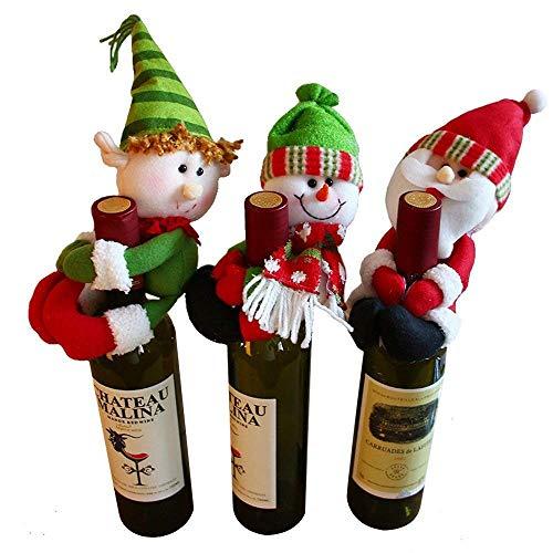 Guoyajf Decorazioni da Tavola Ornamento della Copertura della Bottiglia di Vino 3Pcs Decorazioni da Tavola di Nozze Decorazione della novità Snowman Santa Clause Lovely Hug (Rosso + Verde + Bianco)