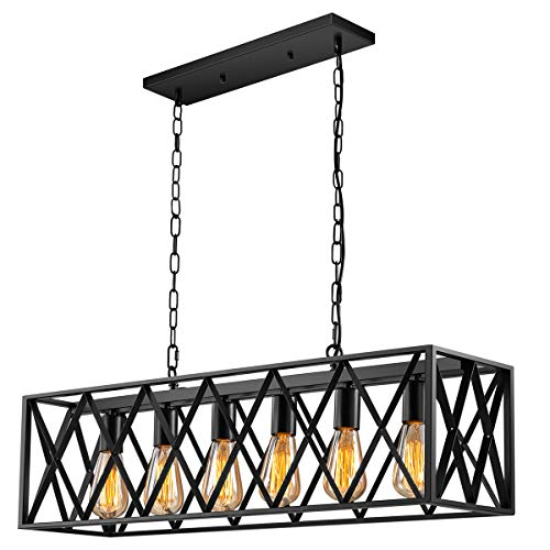 Industrial Kitchen Island Pendant Lighting, Pynsseu Rectangular Vintage Rustic 6-Light Hanging Pendant Light Fixtures for Kitchen Farmhouse, Bar, Dinning Room