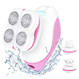 Electric Shaver for Women, 3 in 1 Painless Electric Razor with Facial Massager & Cleansing Brush, Waterproof & Rechargeable Lady Body Epilator, Hair Removal for Legs, Arms & Bikini Line