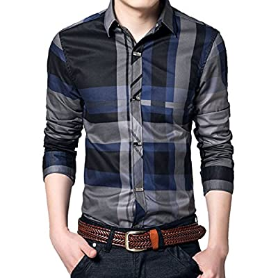 Chen Mens Long Sleeve Slim Fit Casual Snap Buttons Plaid Dress Shirts