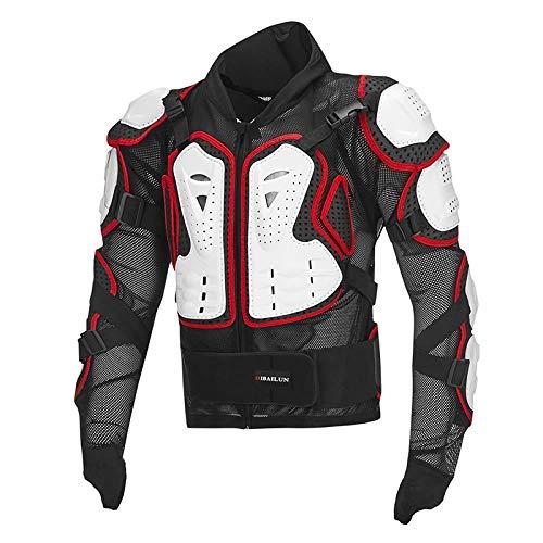 Motorlocomotief volledige kogelvrije vesten, beschermende kleding voor langlaufen, beschermende kleding voor extreme sporten voor buiten, racejack voor dames, blouse wit rood, 4XL