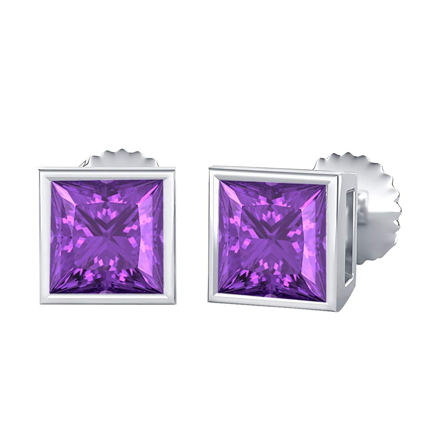 Bezel Set Princess Cut Created Gemstones (3MM) Solitaire Stud Earrings 14K White Gold Over .925 Sterling Silver