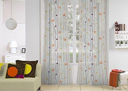 Rioma Cordon 03 – Cortina visillo con ollados, 140 x 270 cm