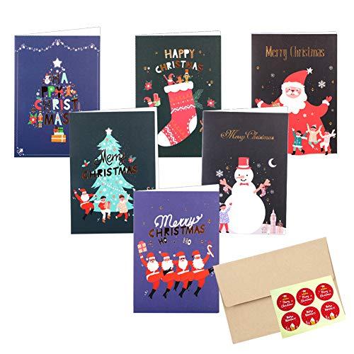 Paquet de 12 cartes de Noël, cartes-cadeaux de voeux joyeux Noël en papier kraft avec enveloppes, carte d'arbre de Noël Père Noël bonhomme de neige pour Noël, 12 autocollants inclus