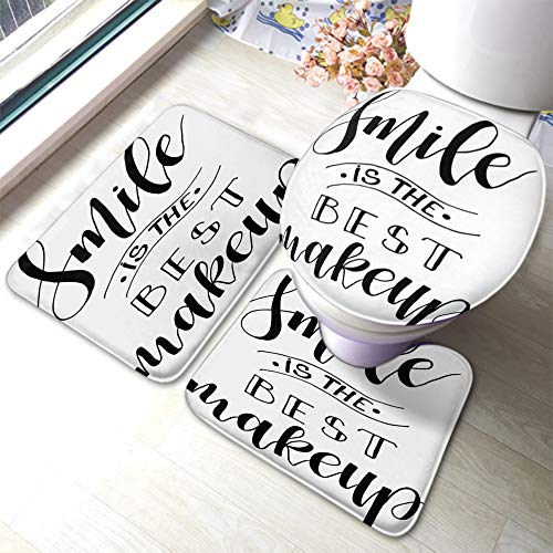 EKOBLA Positive Quote Bathroom Mat Smile is The Best Makeup Modern Brush Calligraphy Artistic Non-Slip Bathroom Rug Set 3 Pieces Anti-Skid Pads for Kitchen Toilet Dining Room