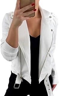 Women Lapel Collar Motorcycle Zip Up Long Sleeve Motor Biker Short Coat Jacket