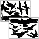 Wandkings Vogelschutz & Fensterschutz, 12 Aufkleber zum Schutz vor Vogelschlag, schwarz