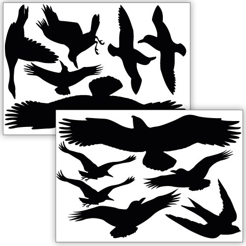 Wandkings Vogelschutz und Fensterschutz, 12 Aufkleber zum Schutz vor Vogelschlag, schwarz