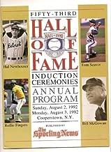 1992 53rd Baseball Hall Of Fame Induction Program