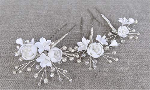 Pack de 3 Horquillas de Flores Blancas, Cristales de Swarovski. Hechas a mano con porcelana fría. Horquillas para boda. Tocado de novia.