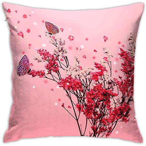 July Beatiful Pink Flower en Butterfly Throw Kussensloop Onzichtbare ritssluiting Sluiting Kussensloop voor Home Sofa