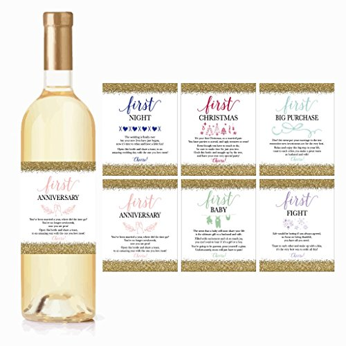 6 Wedding Milestones Gift Wine Bottle Labels or Sticker Covers, Bridal Shower, Bachelorette Engagement Party Present, Perfect Best Registry For Bride To Be, Firsts For The Newlywed Couple Basket Ideas (Gifts To Ask Someone To Be Your Bridesmaid)