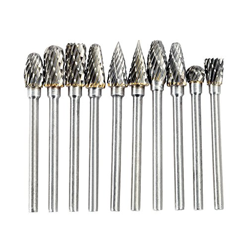 KKmoon Elettrica Molatura Accessori,10 Pezzi 0.12*0.24 Pollice in Tungsteno Fresatura Fresa Dremel Rotary Burr Tool Set Incisione CNC