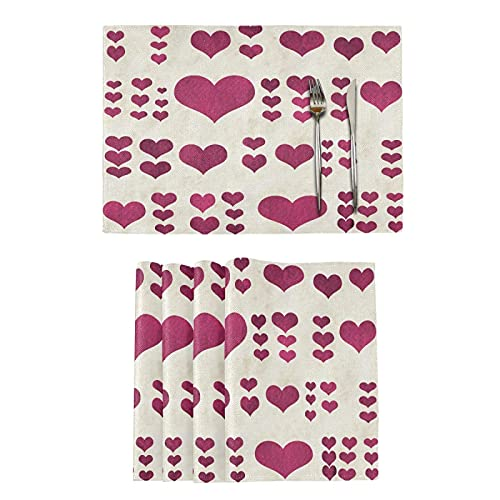 Valentine'S Day Hearts Love Heart Tulips Flower Red Truck 12 X 18 In Washable Heat Resistant Table Place Mats Heat Resistant Kitchen Mats For Table Home Decoration