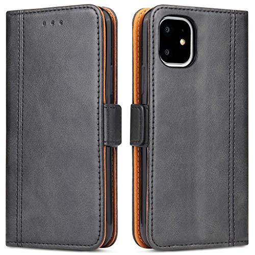 Bozon Handyhülle für iPhone 11, Lederhülle mit Kartenfächer, Schutzhülle mit Standfunktion, Klapphülle Tasche für Apple iPhone 11 (Schwarz)