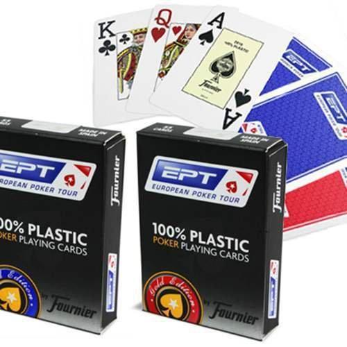 Mazzo di carte Fournier EPT 100% Plastica - dorso rosso - Mazzi Fournier - Carte da gioco - Giochi di Prestigio e Magia